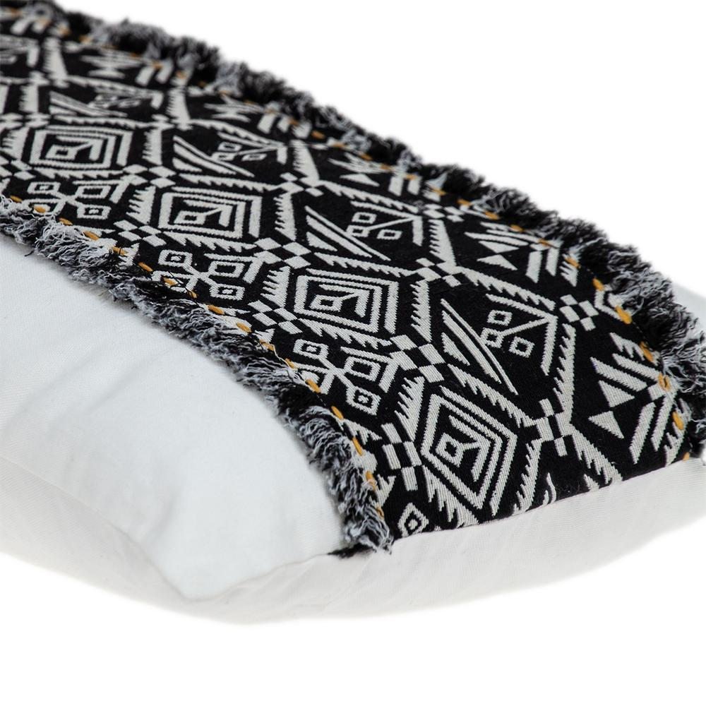Black and White Patched Throw Pillow - 383126. Picture 5