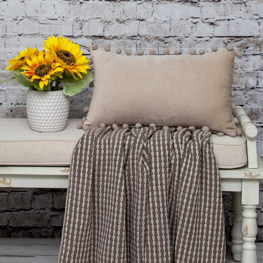 Taupe Pom Pom Lumbar Throw Pillow - 383139. Picture 2