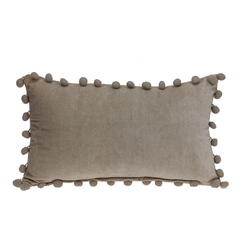 Taupe Pom Pom Lumbar Throw Pillow - 383139. Picture 3