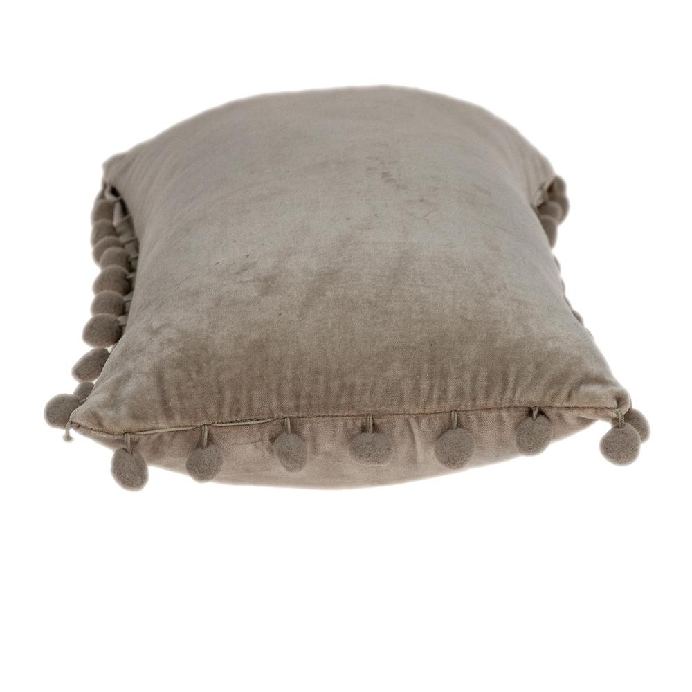Taupe Pom Pom Lumbar Throw Pillow - 383139. Picture 4