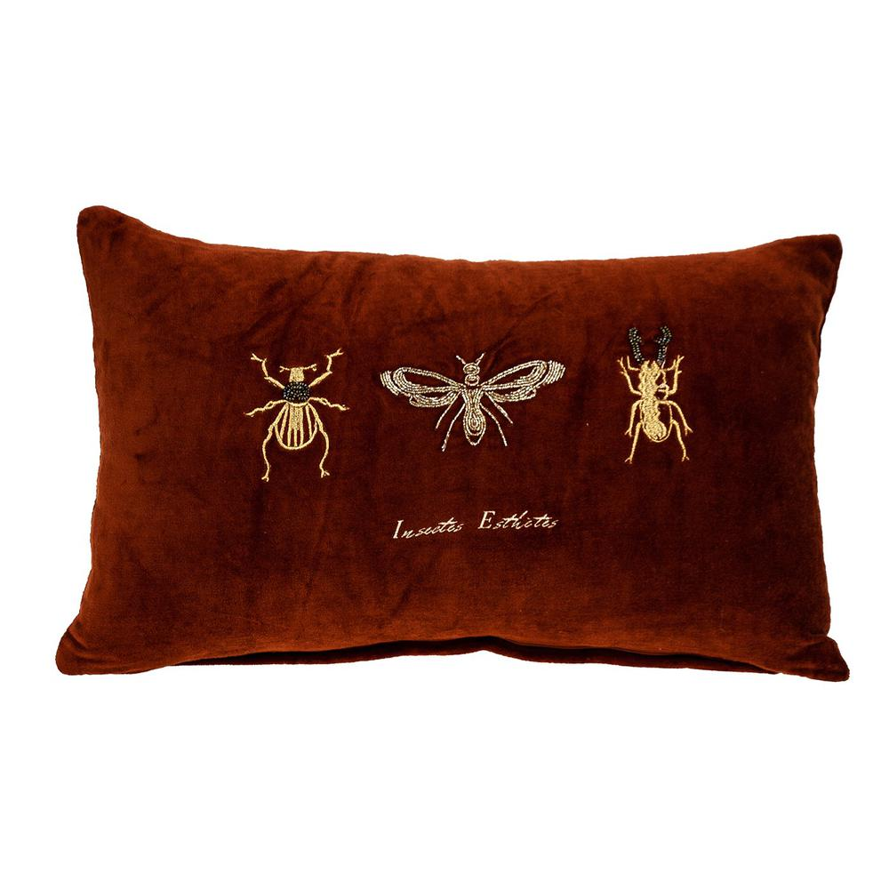 Golden Insects Velvet Throw Pillow - 383140. Picture 1