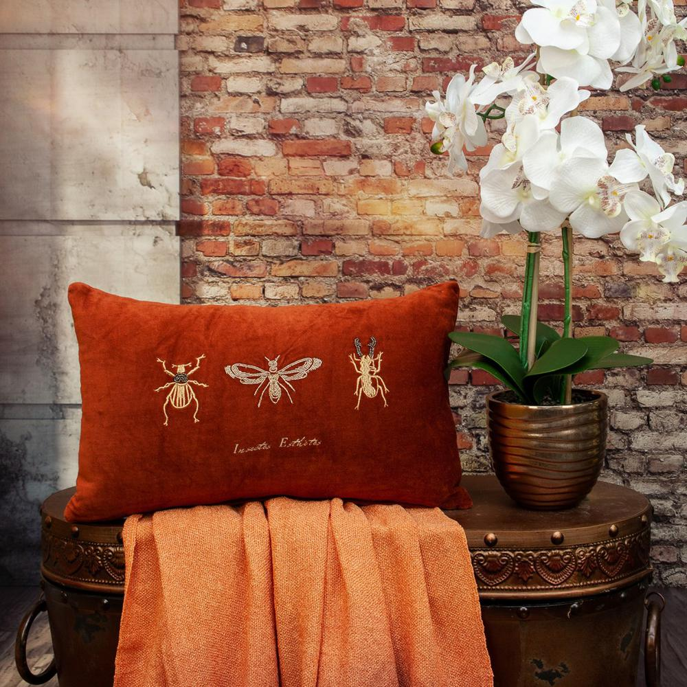 Golden Insects Velvet Throw Pillow - 383140. Picture 2