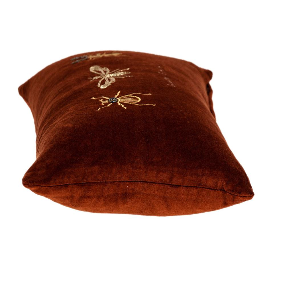 Golden Insects Velvet Throw Pillow - 383140. Picture 4