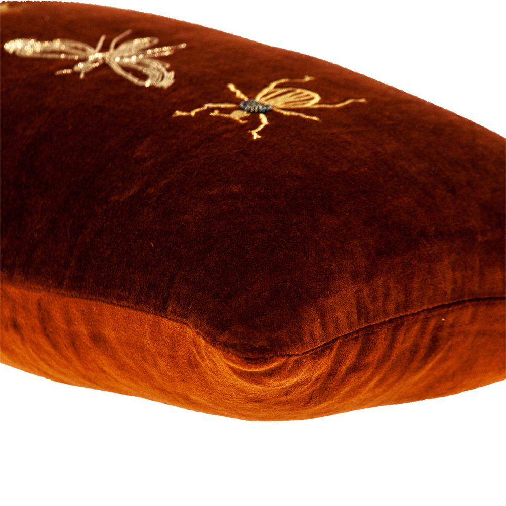 Golden Insects Velvet Throw Pillow - 383140. Picture 5