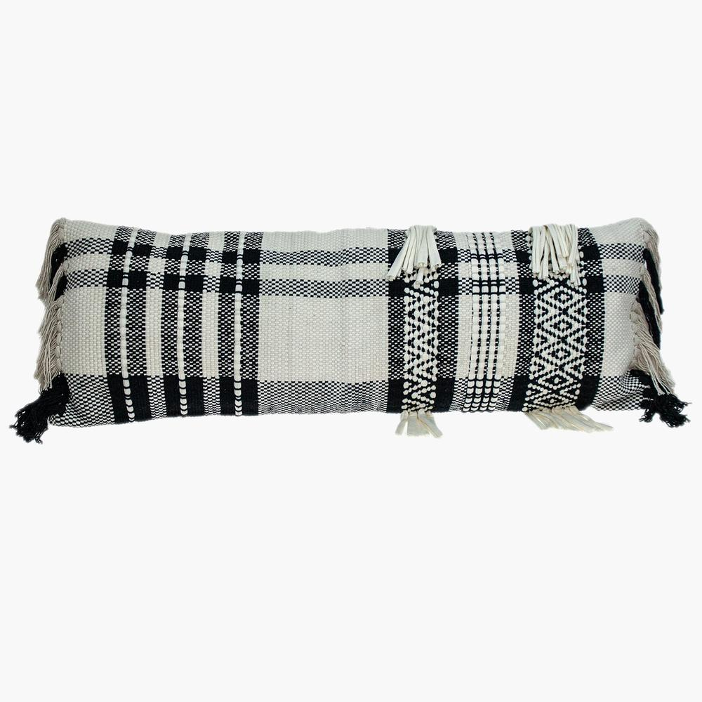 Black and White Geo Long Lumbar Throw Pillow - 383143. Picture 1