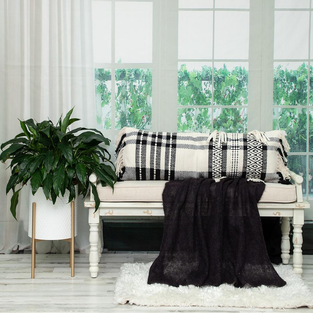 Black and White Geo Long Lumbar Throw Pillow - 383143. Picture 2