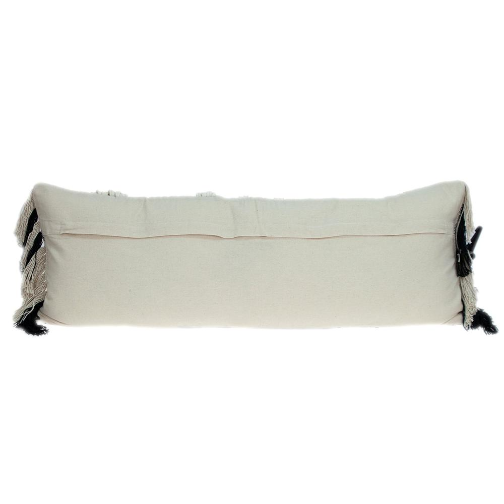 Black and White Geo Long Lumbar Throw Pillow - 383143. Picture 3