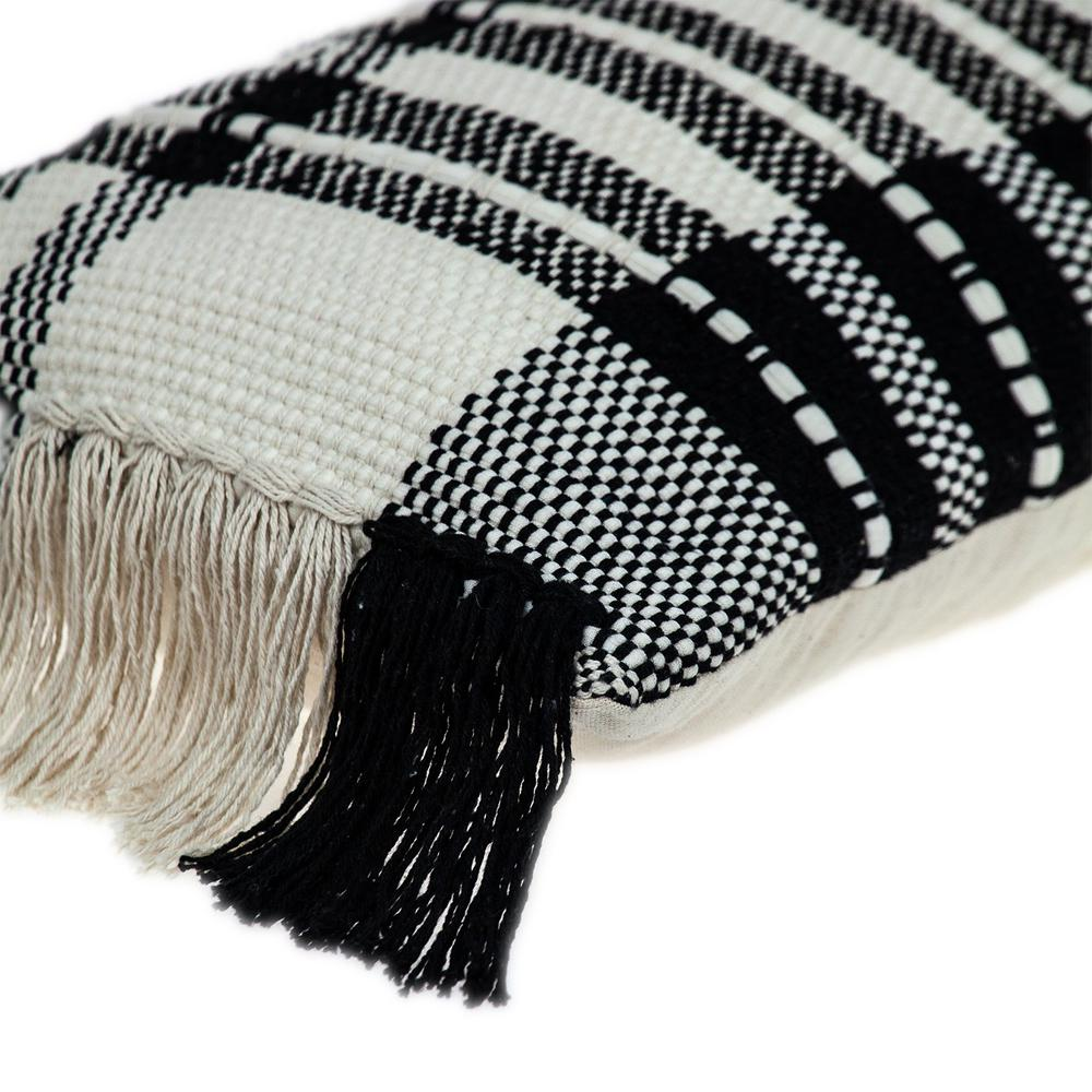 Black and White Geo Long Lumbar Throw Pillow - 383143. Picture 5