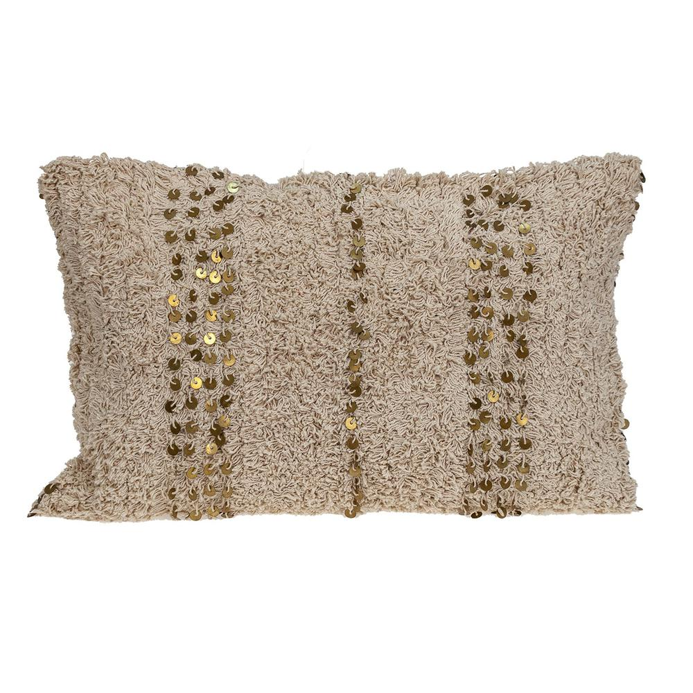 Boho Woven Shaggy Sequin Lumbar Pillow - 383144. Picture 1