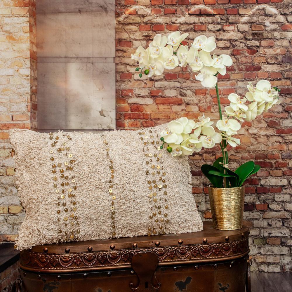 Boho Woven Shaggy Sequin Lumbar Pillow - 383144. Picture 2