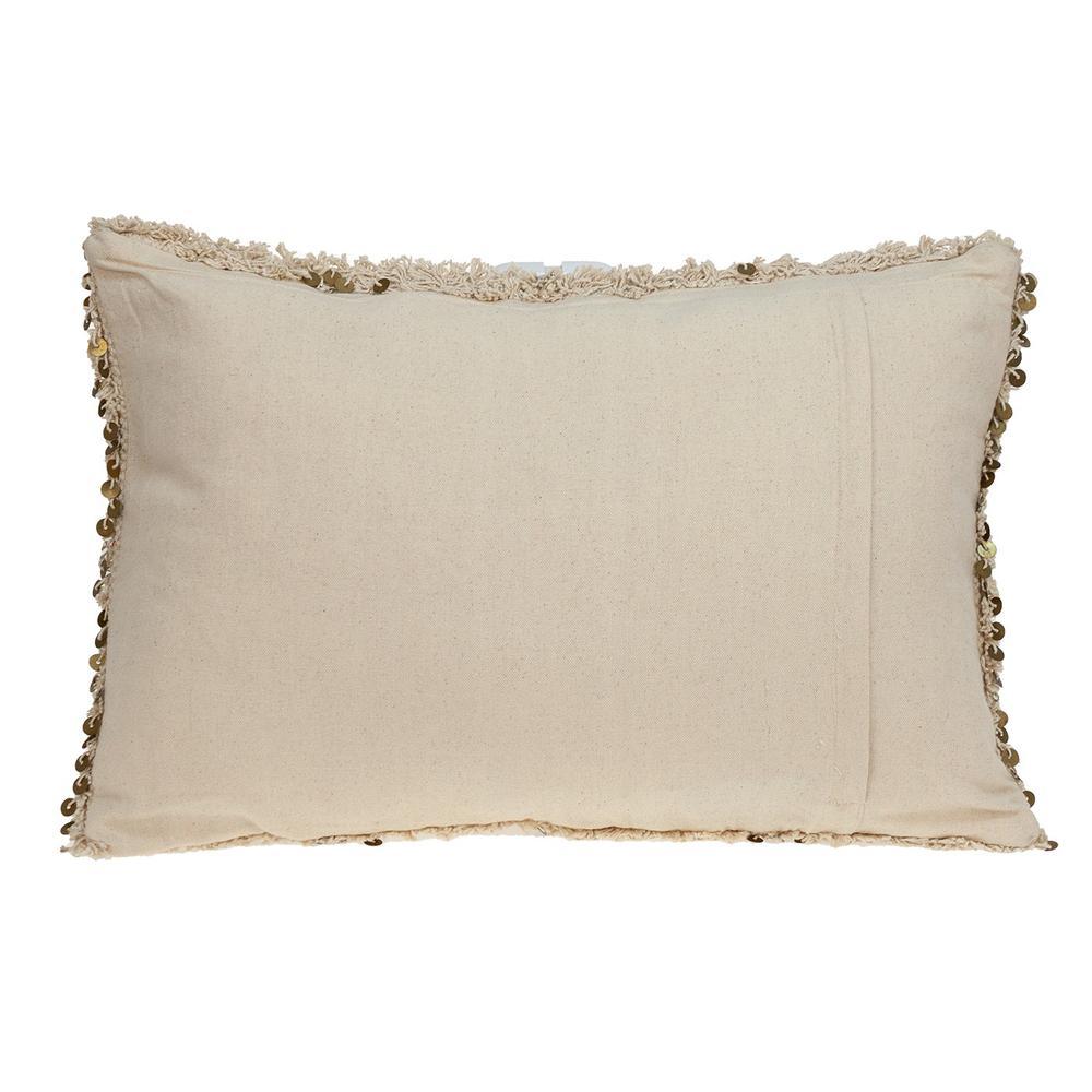 Boho Woven Shaggy Sequin Lumbar Pillow - 383144. Picture 3