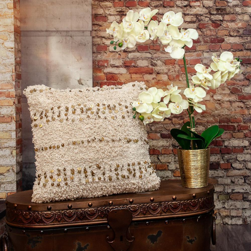 Boho Woven Shaggy Sequin Throw Pillow - 383145. Picture 1