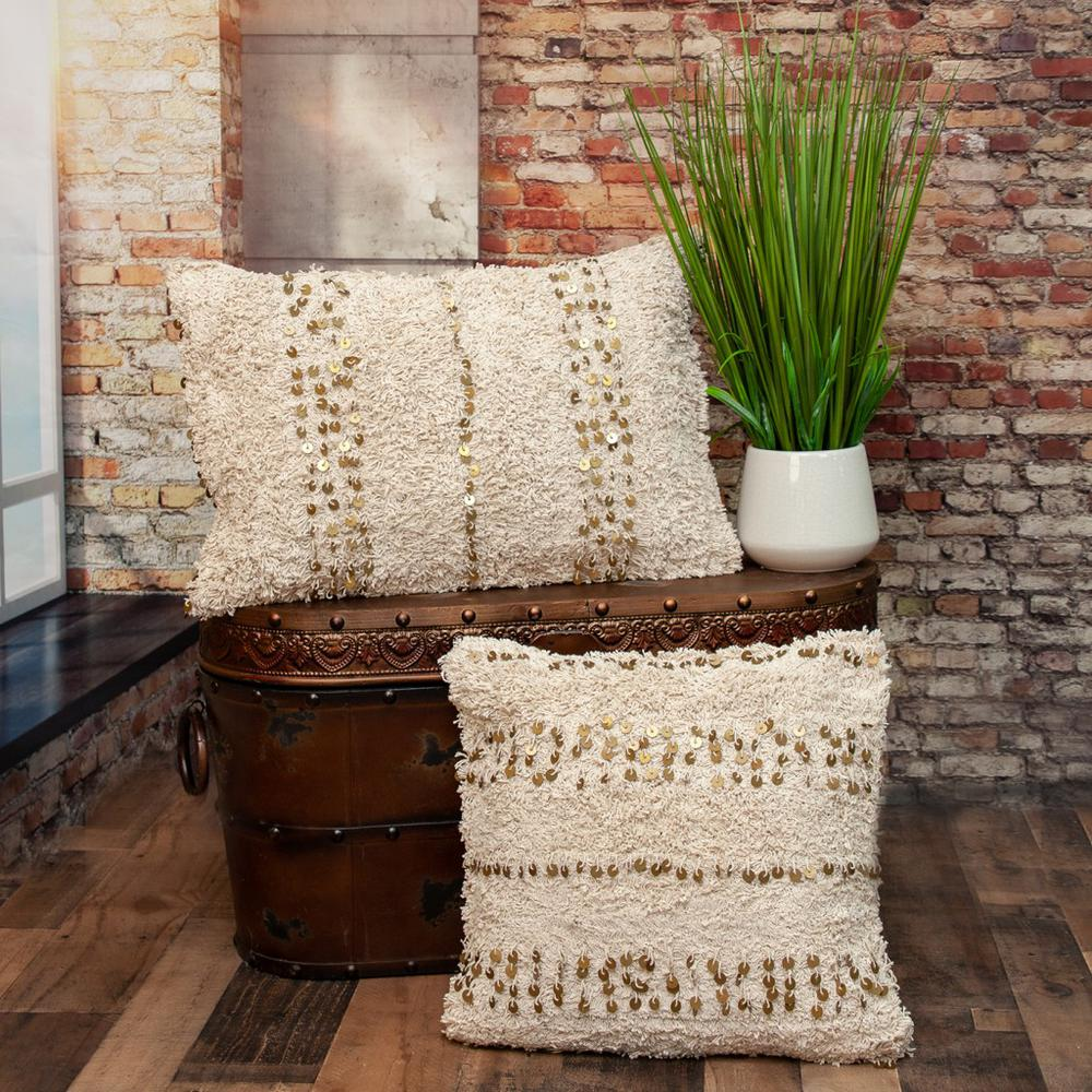 Boho Woven Shaggy Sequin Throw Pillow - 383145. Picture 2