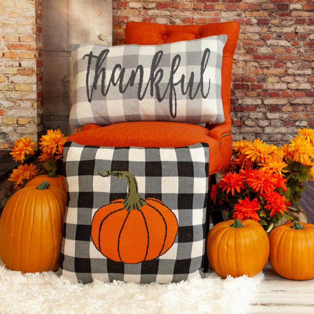 Buffalo Check Pumpkin Throw Pillow - 383149. Picture 2