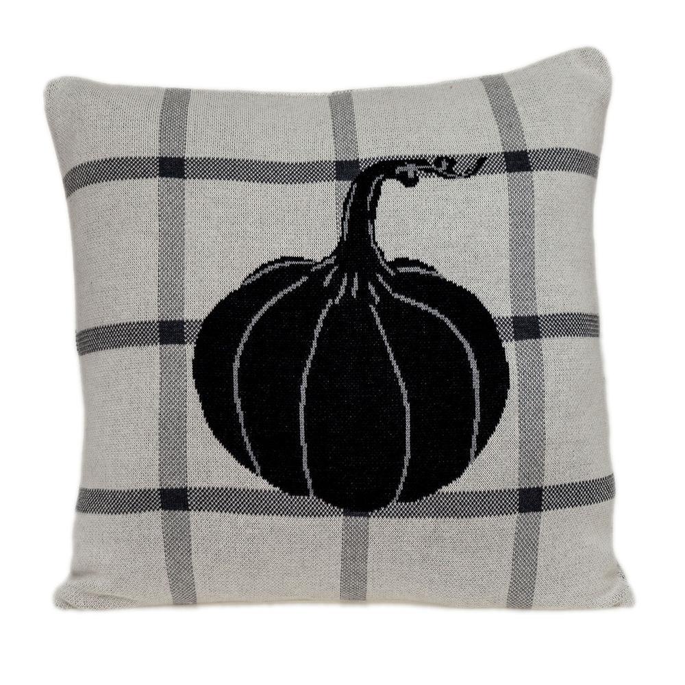 Grey Plaid Pumpkin Throw Pillow - 383153. Picture 1