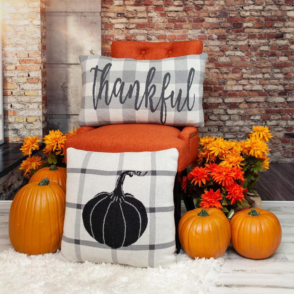Grey Plaid Pumpkin Throw Pillow - 383153. Picture 2