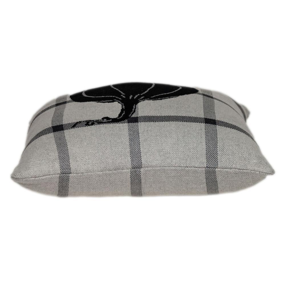 Grey Plaid Pumpkin Throw Pillow - 383153. Picture 4