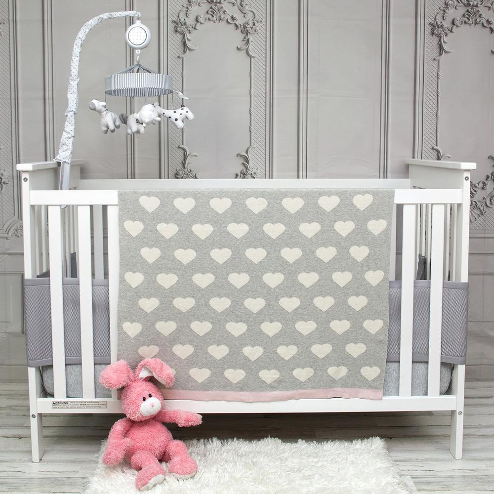 Grey and Ivory Hearts Knitted Baby Blanket - 383156. Picture 2