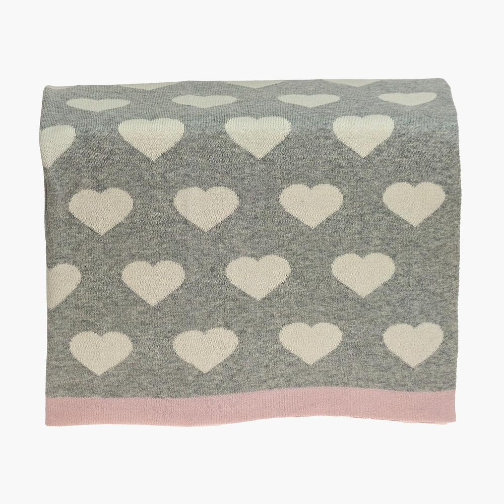 Grey and Ivory Hearts Knitted Baby Blanket - 383156. Picture 3