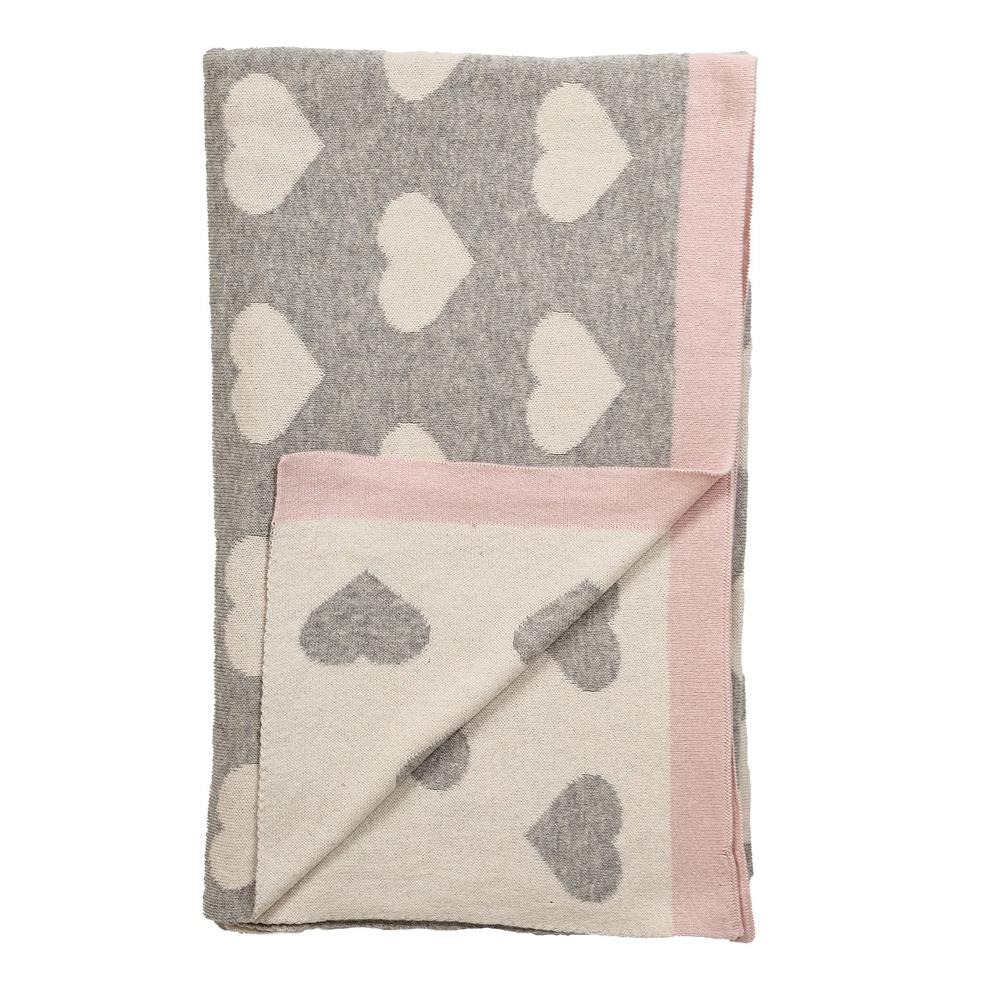 Grey and Ivory Hearts Knitted Baby Blanket - 383156. Picture 4