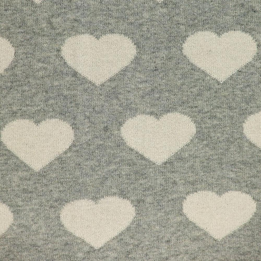Grey and Ivory Hearts Knitted Baby Blanket - 383156. Picture 5
