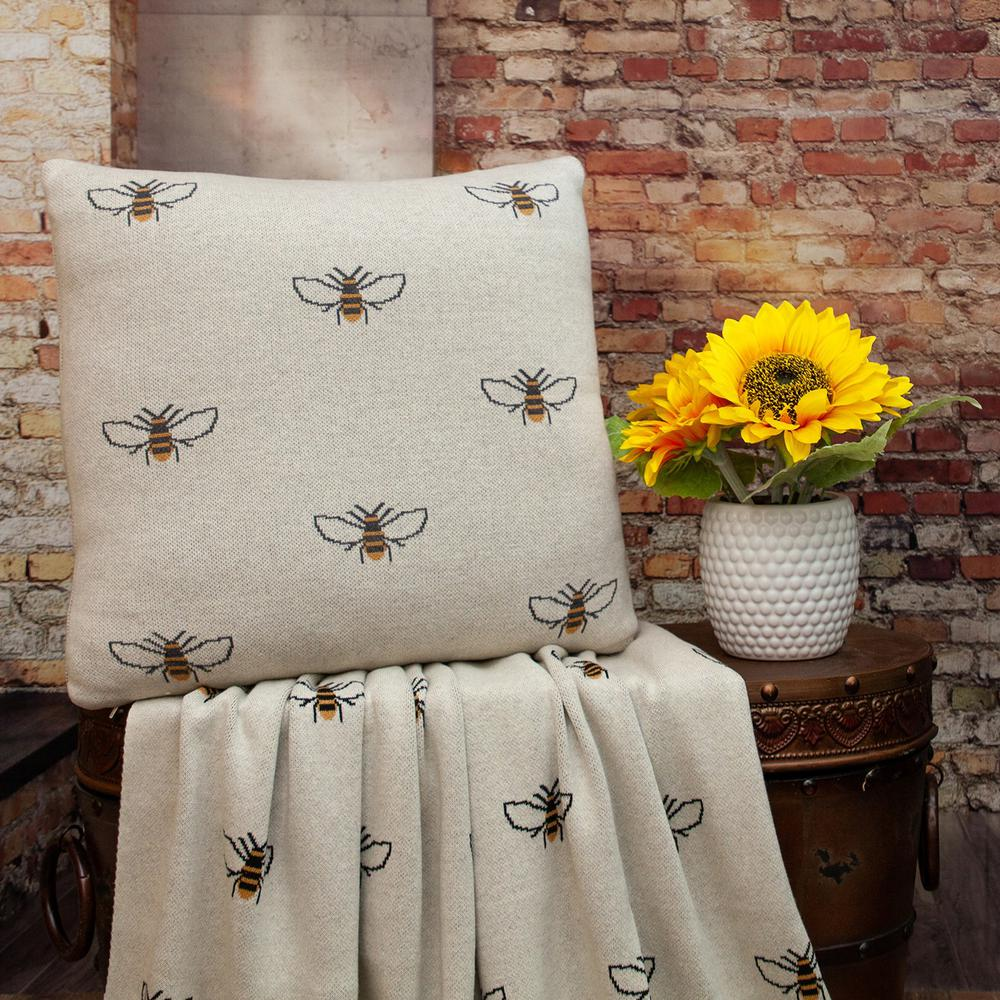 Linen Bumblee Throw Pillow - 383157. Picture 2