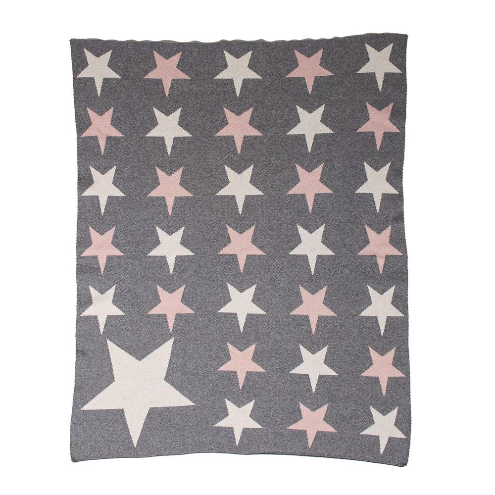 Grey Ivory and Pink Stars Knitted Baby Blanket - 383160. Picture 1