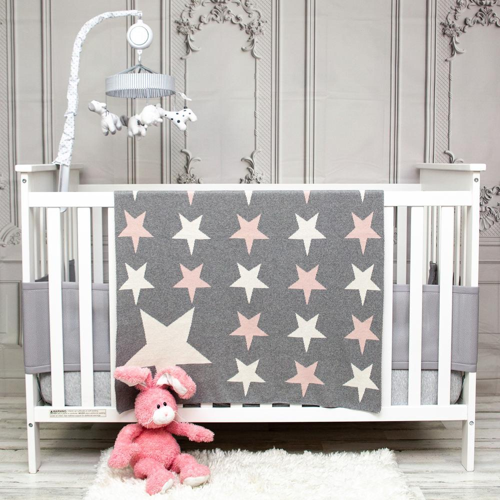 Grey Ivory and Pink Stars Knitted Baby Blanket - 383160. Picture 2