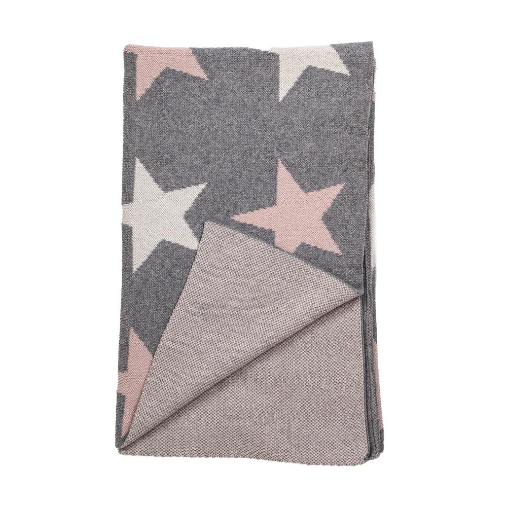 Grey Ivory and Pink Stars Knitted Baby Blanket - 383160. Picture 4