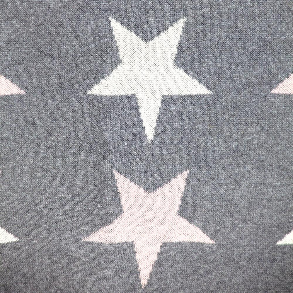 Grey Ivory and Pink Stars Knitted Baby Blanket - 383160. Picture 5