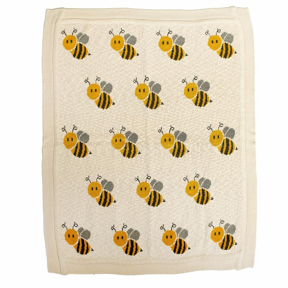 Ivory Honeybee Knitted Baby Blanket - 383162. Picture 1