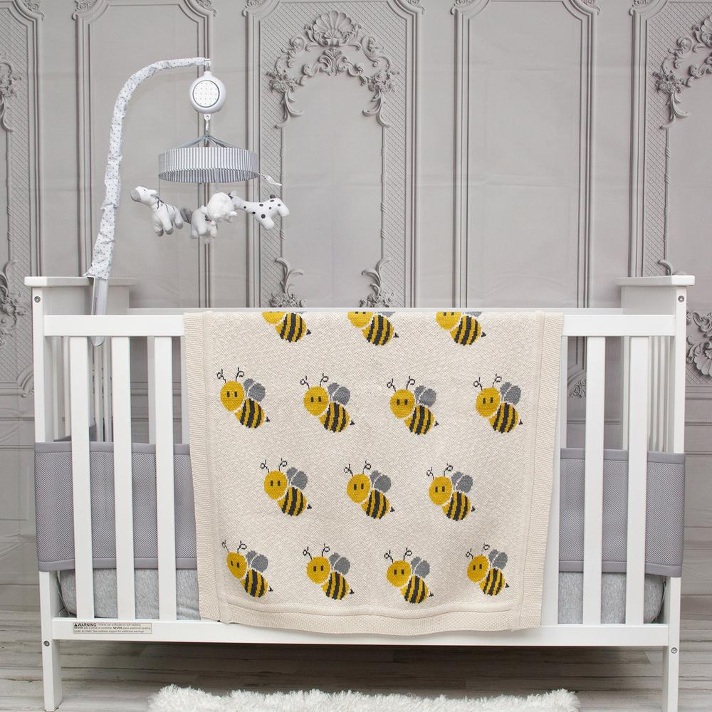 Ivory Honeybee Knitted Baby Blanket - 383162. Picture 2