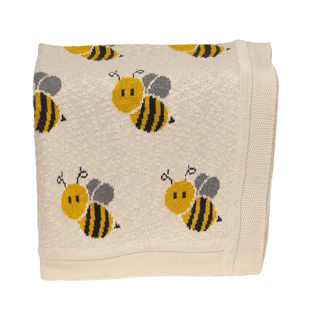 Ivory Honeybee Knitted Baby Blanket - 383162. Picture 3