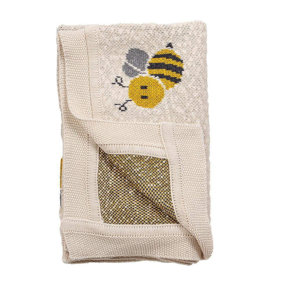Ivory Honeybee Knitted Baby Blanket - 383162. Picture 4