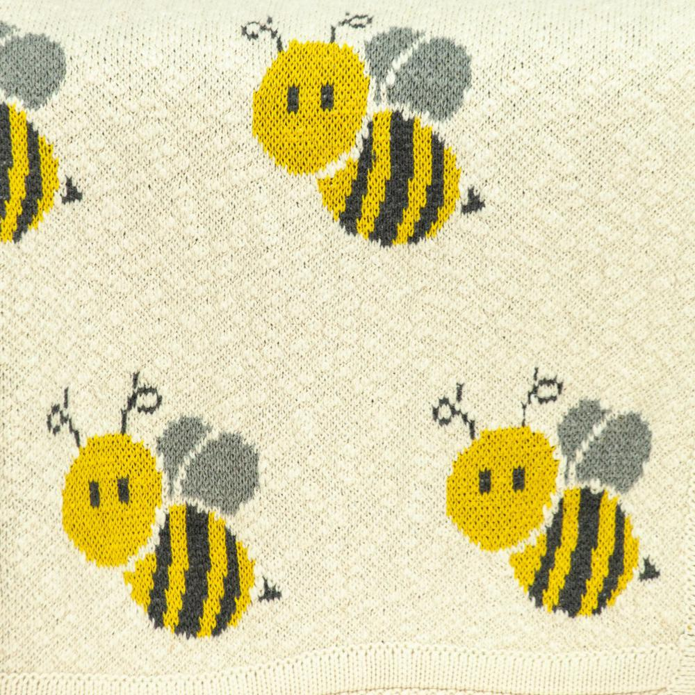 Ivory Honeybee Knitted Baby Blanket - 383162. Picture 5