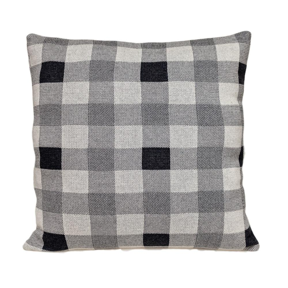 Lead Grey Checkered Pillow - 383165. Picture 1