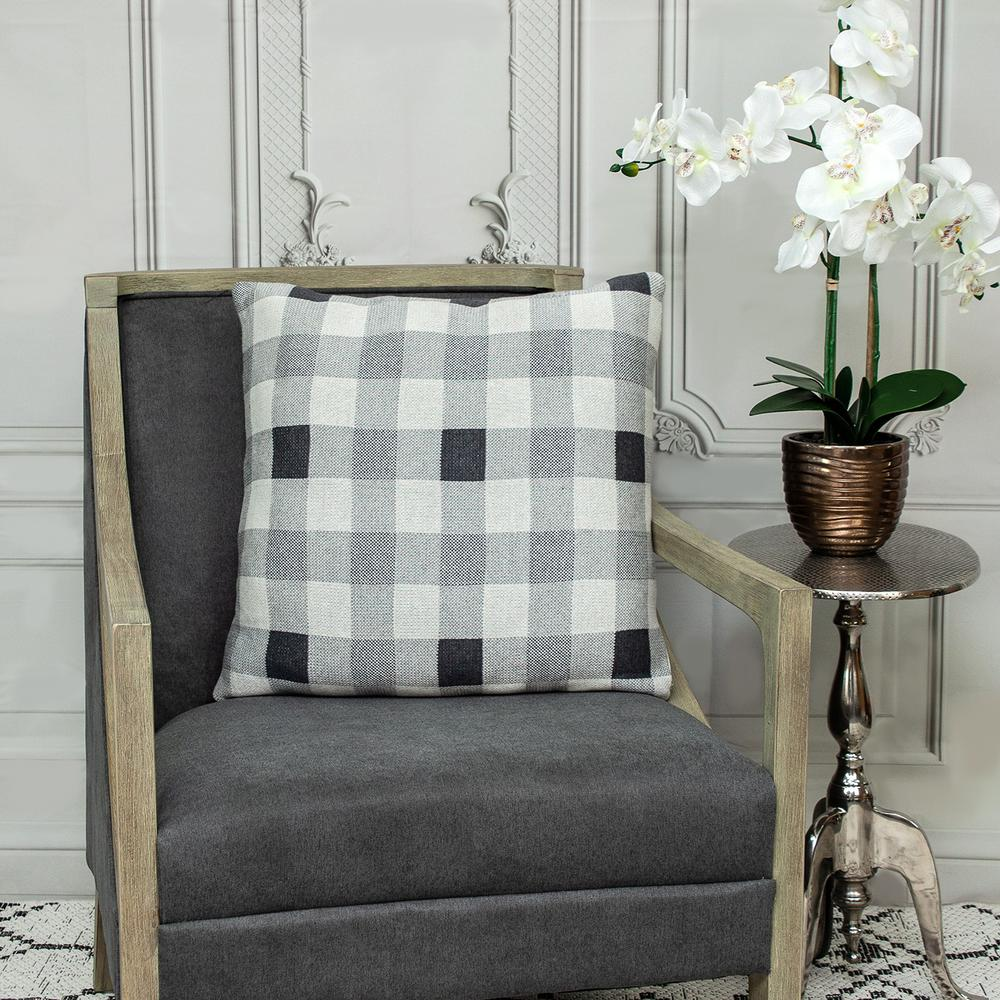 Lead Grey Checkered Pillow - 383165. Picture 2