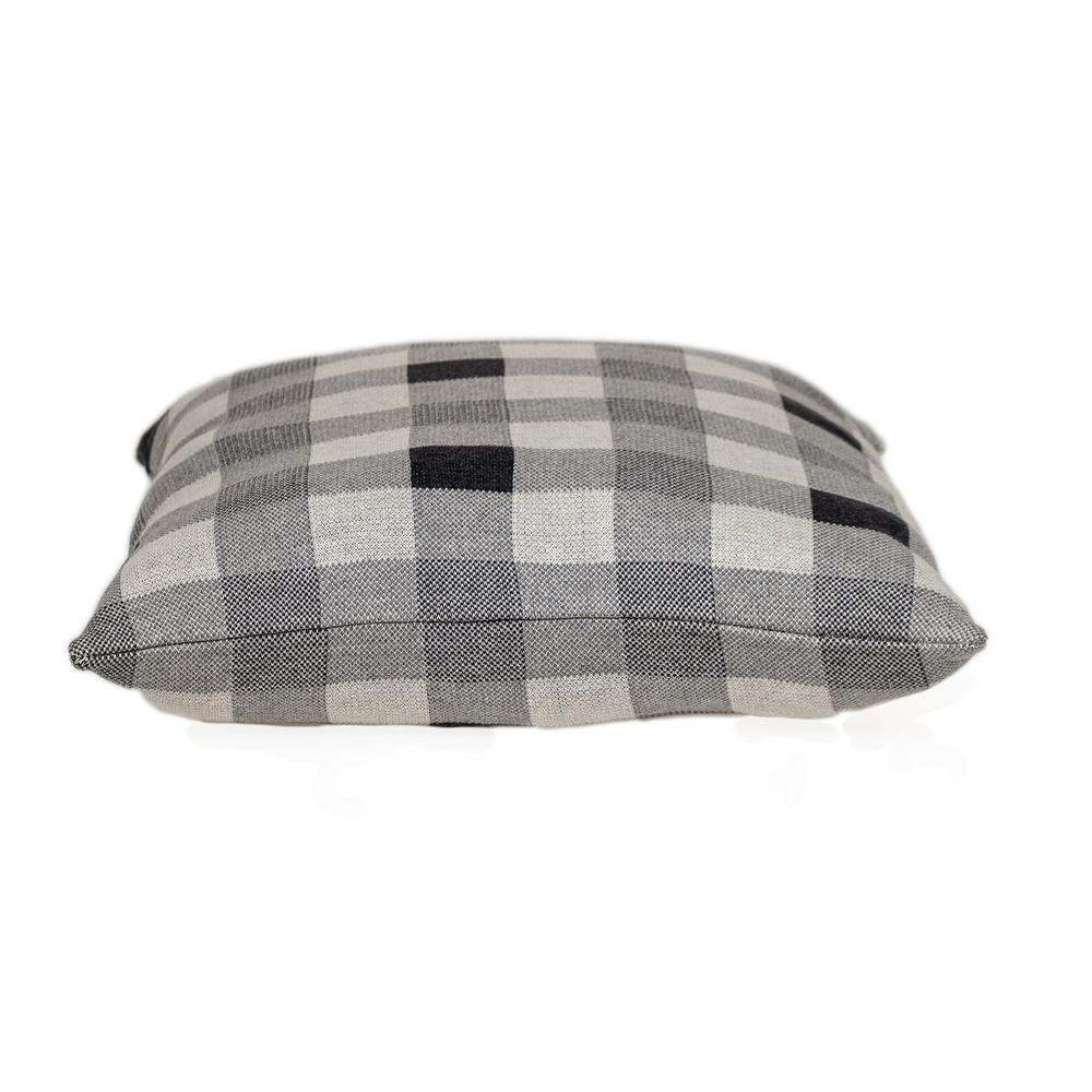 Lead Grey Checkered Pillow - 383165. Picture 4