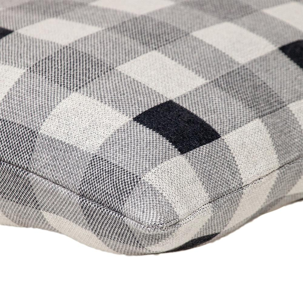 Lead Grey Checkered Pillow - 383165. Picture 5