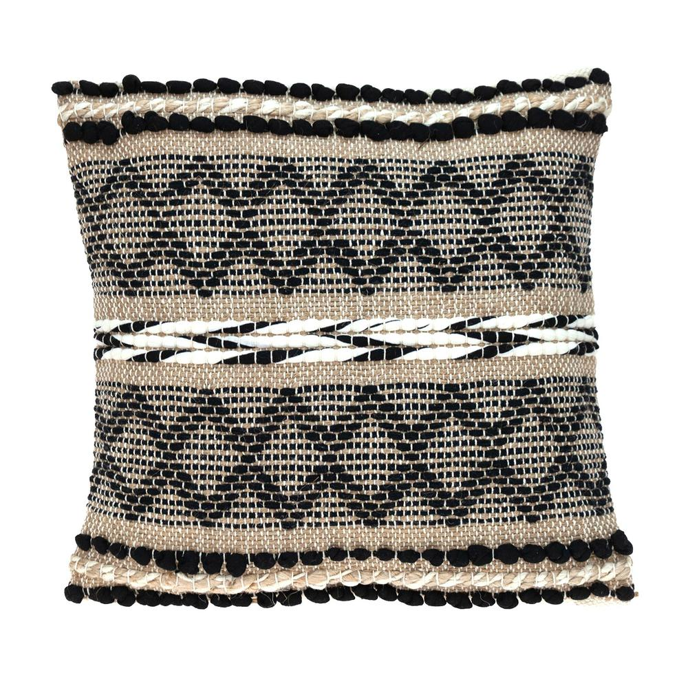 Black and Sand Woven Decorative Pillow - 383173. Picture 1