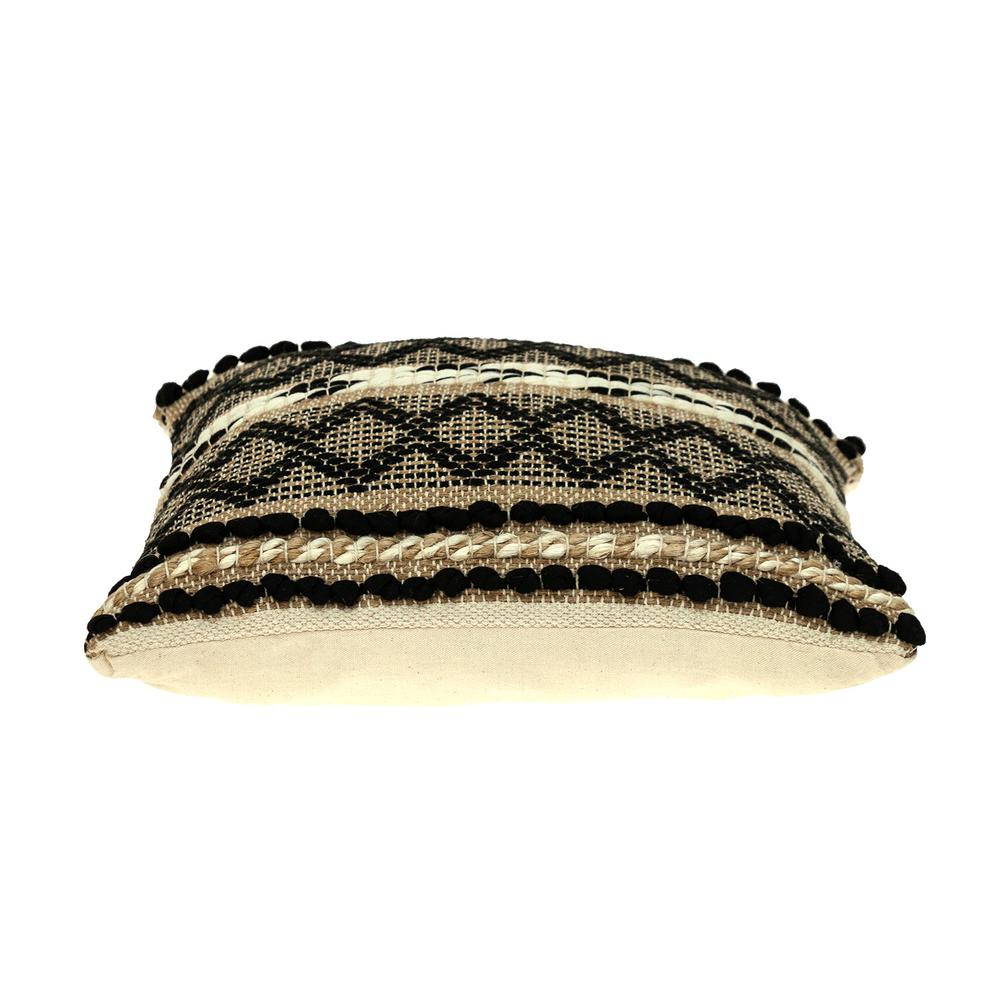 Black and Sand Woven Decorative Pillow - 383173. Picture 4