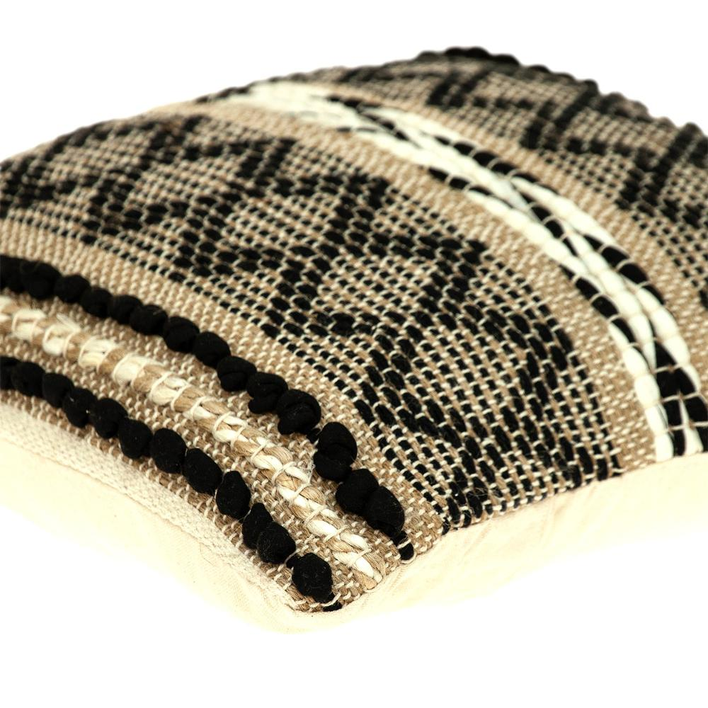 Black and Sand Woven Decorative Pillow - 383173. Picture 5