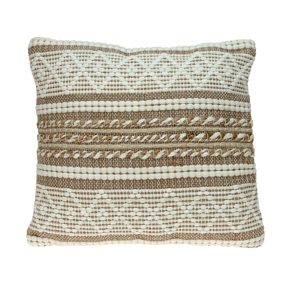 Linen and Brown Jute Throw Pillow - 383176. Picture 1