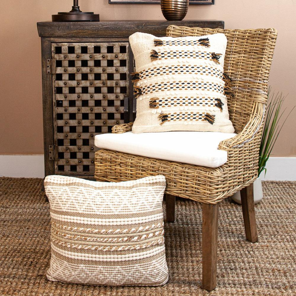 Linen and Brown Jute Throw Pillow - 383176. Picture 2