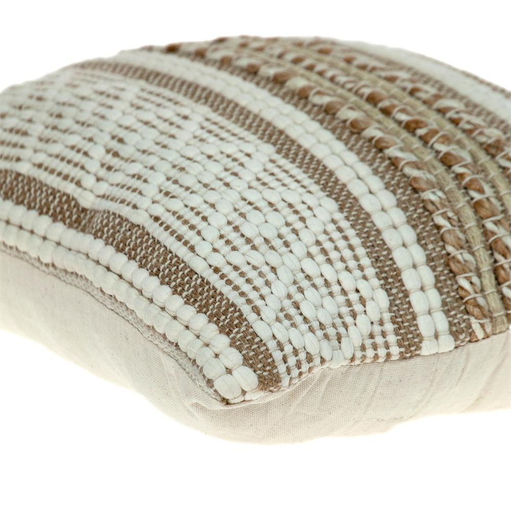 Linen and Brown Jute Throw Pillow - 383176. Picture 5