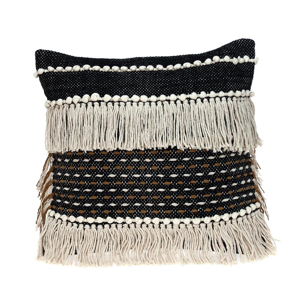 Black and Ivory Textured Throw Pillow - 383180. Picture 1
