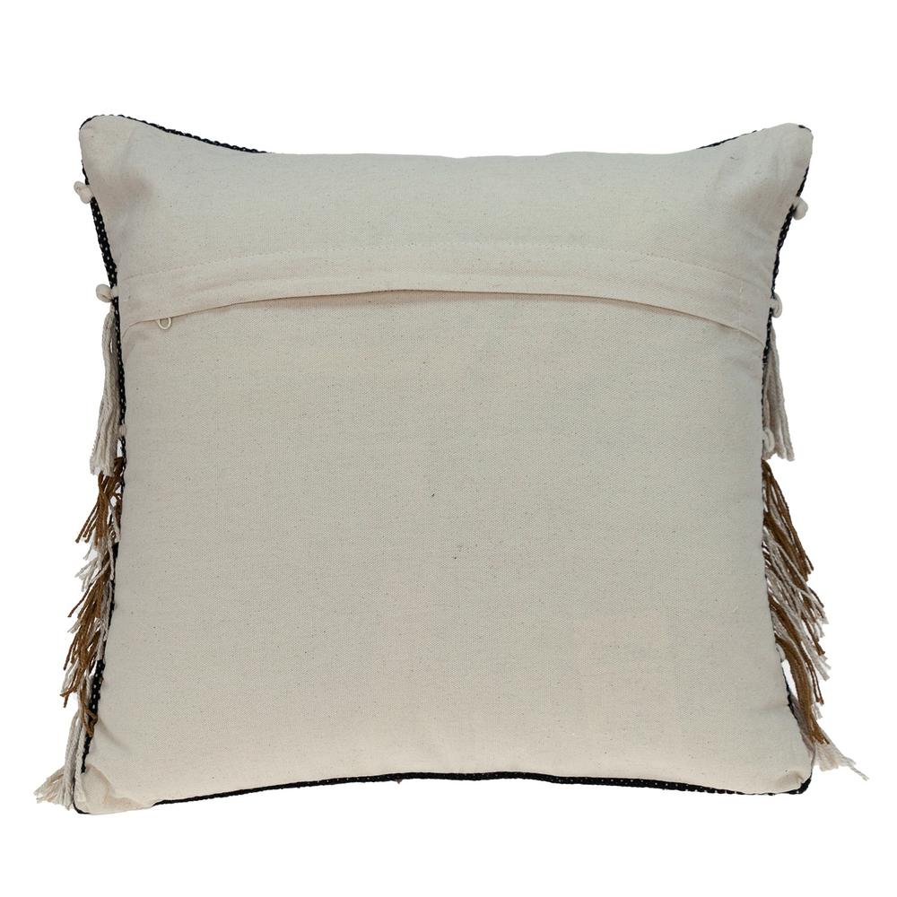 Black and Ivory Textured Throw Pillow - 383180. Picture 3