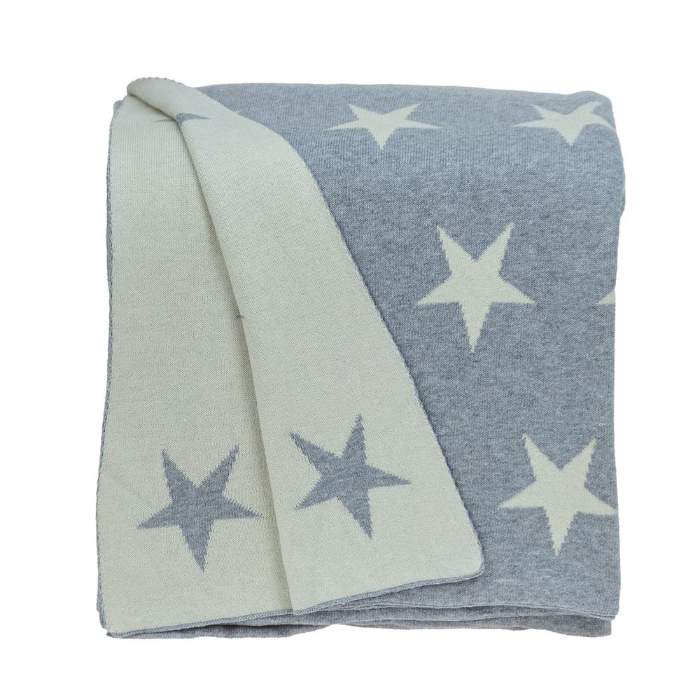 Gray and White Stars Knitted Throw Blanket - 383184. Picture 1