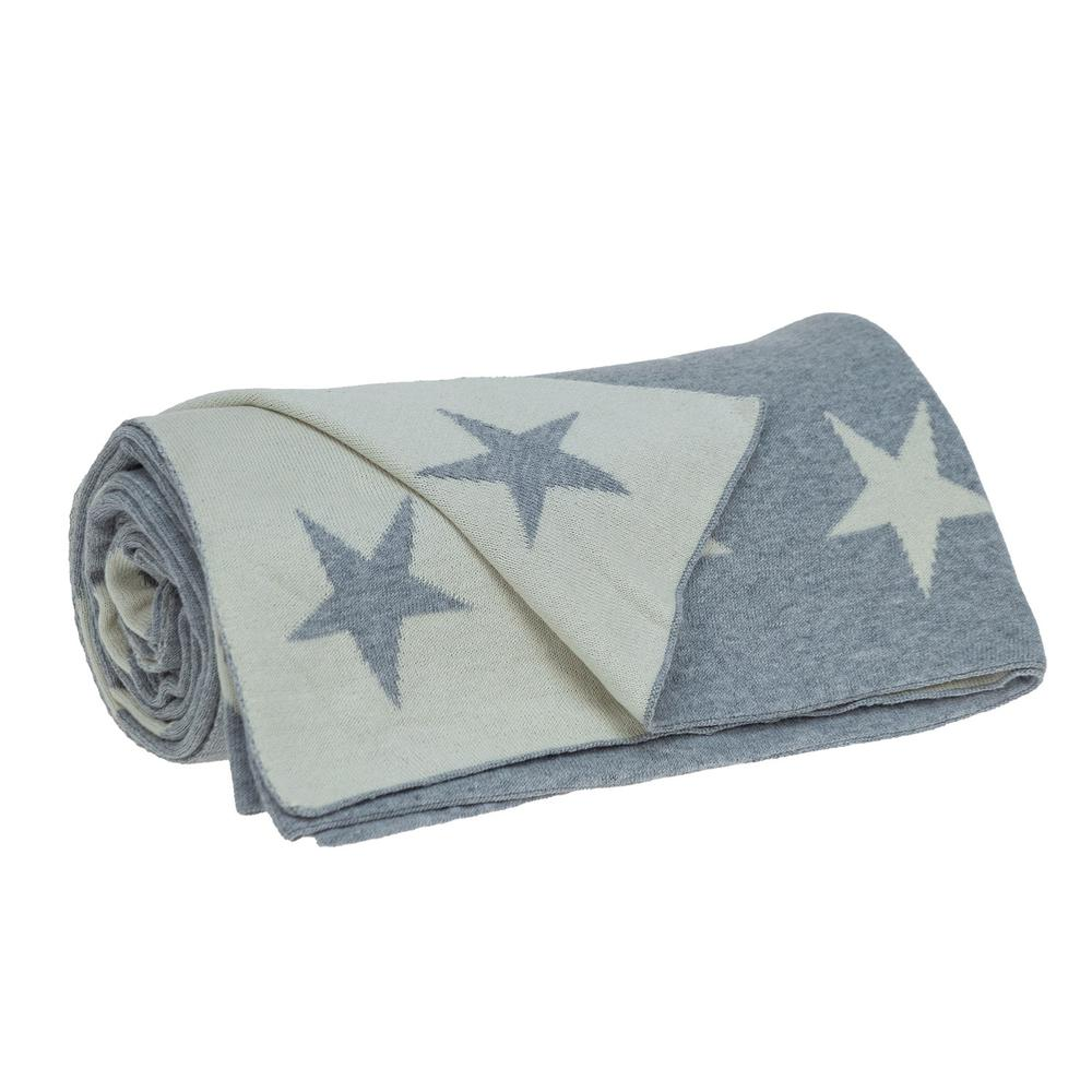 Gray and White Stars Knitted Throw Blanket - 383184. Picture 3