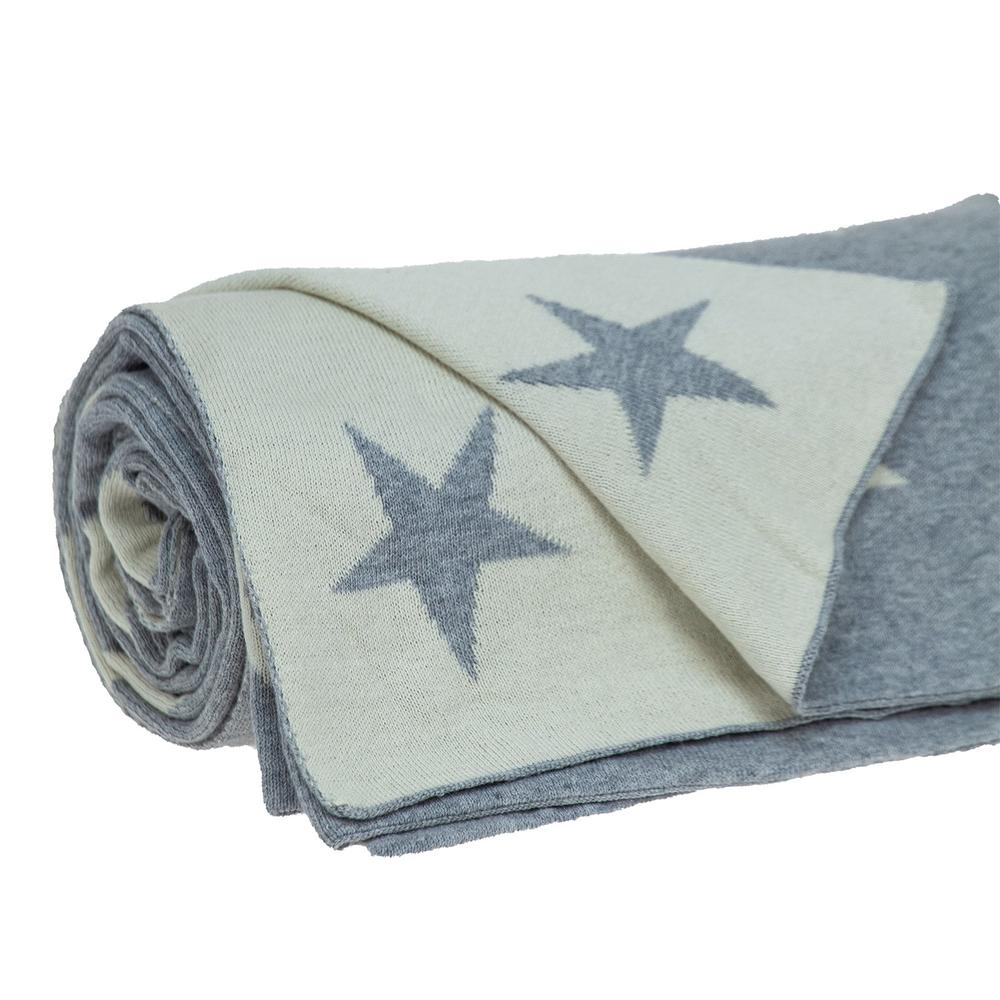Gray and White Stars Knitted Throw Blanket - 383184. Picture 4